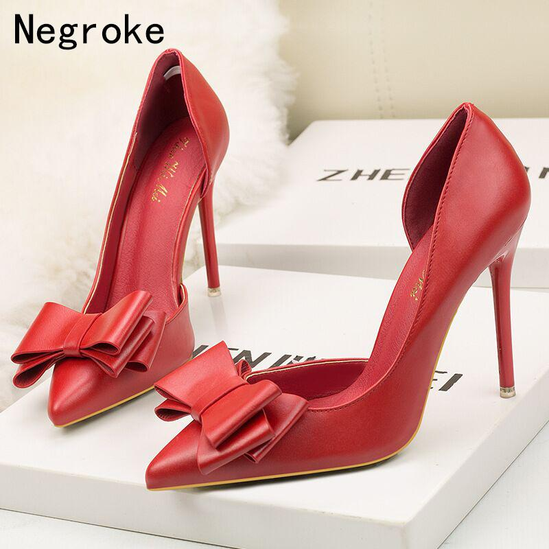 04a7e5fcae1 Dress Sexy Bowknot Women Pumps Patent Leather High Heels Shoes Woman Party  Wedding Nude Heel Shallow Stiletto Ladies Shoes 10.5cm Leather Shoes For  Men Mens ...
