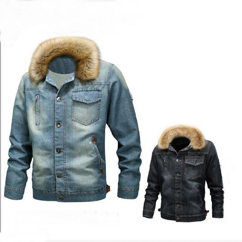 Quente transporte da gota New Inverno Denim Jacket Men Thick casaco de pele Collar Bomber Fur Collar Casual Cowboy Jacket Wool Liner Outwear