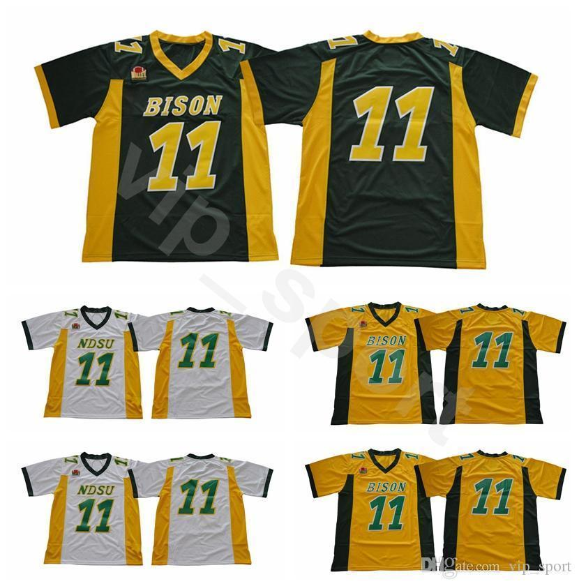 brand new 896a8 6b1e8 Ndsu Bison Football 11 Carson Wentz Jersey Green Yellow White Stitched  North Dakota State College Uniforms University Breathable