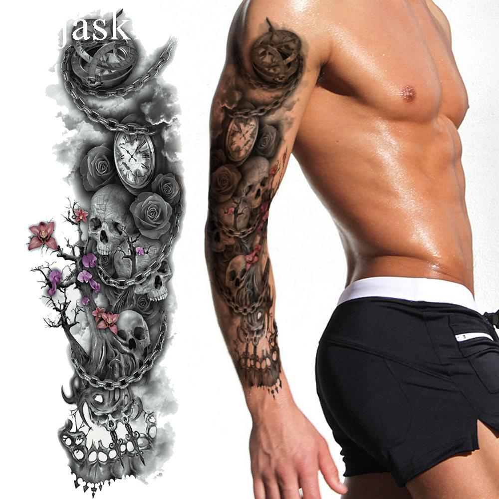 25 Style Black Branch Chain Wheel Temporary Tattoo Stickers Full Arm