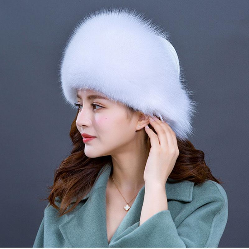 Compre De Alta Calidad De Invierno De Piel Real De Las Mujeres Sombrero  Cálido De Cuero Genuino Beanie Caps Señoras Sombreros De Invierno Orejeras  Nueva ... 390988d198f