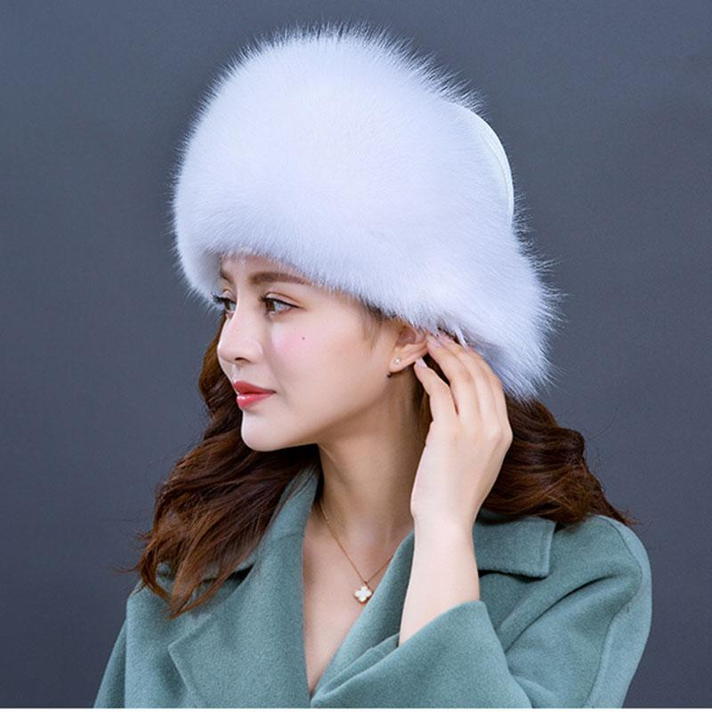 High Quality Winter Real Fur Women Warm Hat Genuine Leather Beanie Caps  Ladies Winter Hats Ear Flaps New 2018 Russia Cap Slouchy Beanie Skull Cap  From Yongq ... 41a255e320c