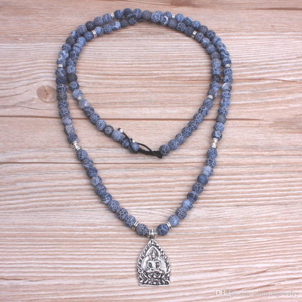 108 Frost Black gray onyx with Buddha charm Pendant necklace mala kette Buddhist prayer necklace men,women spiritual jewelry