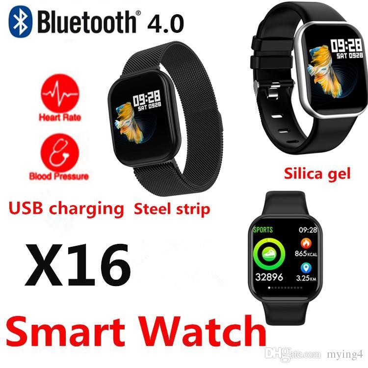 X16 Smart Watch Pedometer Smart Bracelet Dynamic heart rate Blood Pressure  Monitor Bluetooth waterproof Touch screen For iOS-Apple huawei Z6