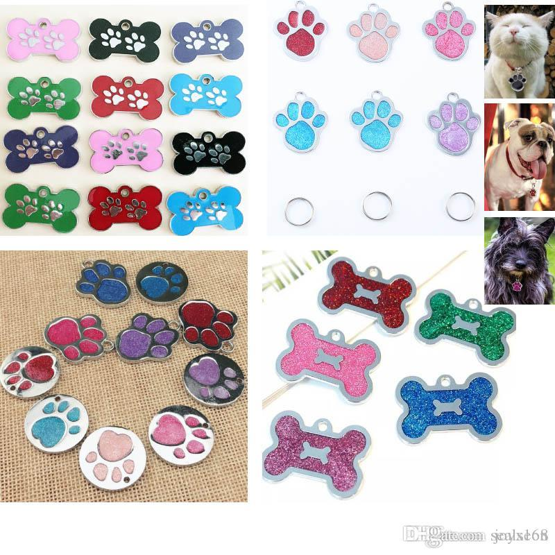 Dog Tag For Bone Glitter Footprint 7Styles Engraved Cat Puppy Pet ID For Fashion Name Collar Tag Pendant Pet Accessories HH9-2178