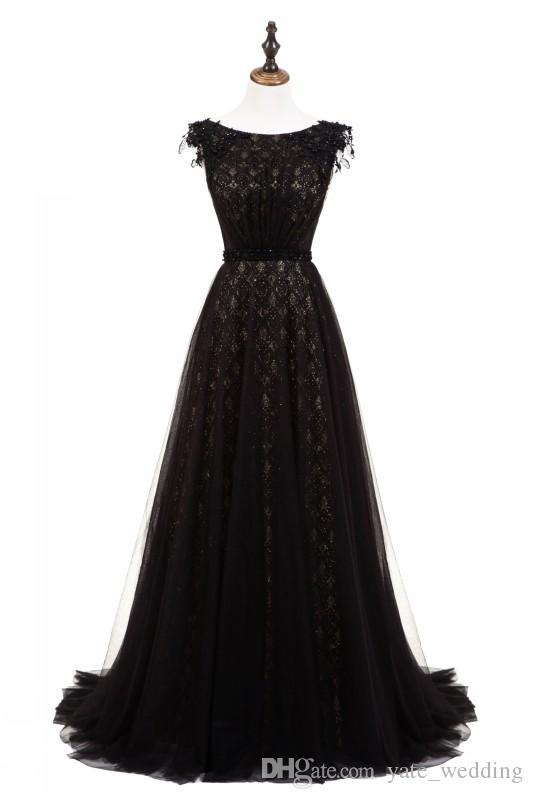 a8e90c4928e8e Black Prom Dresses 2019 Fashion Cheap Jewel Neck Ouinceanera Dresses With  Sashes Tulle Lace Zipper Back Simple Evening Dresses Free Shipping