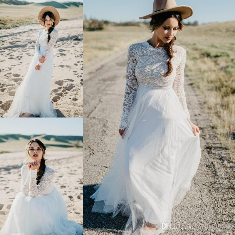 817b63f1aad5a Discount Modest Country Wedding Dresses A Line New 2019 Illusion Long  Sleeves Top Lace Cheap Bohemian Beach Boho Tulle Bridal Gowns Wedding Dress  Wedding ...