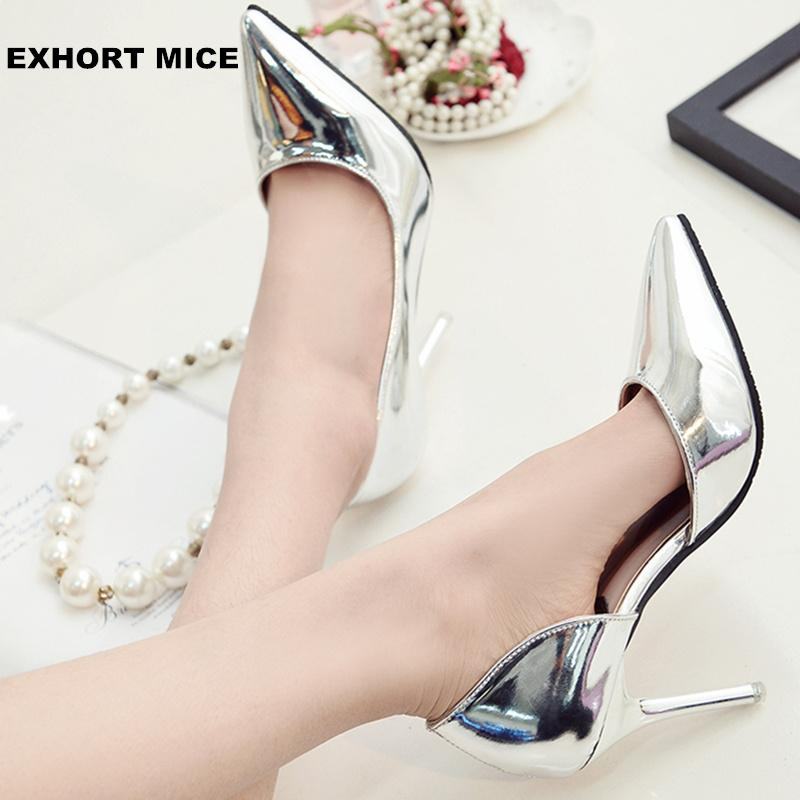 4bf36728ef8ab Designer Dress Shoes Hot 2019 Spring Autumn Women Pumps Sexy Gold Silver  High Heels Fashion Pointed Toe Wedding Party Women 9cm Cute Shoes Green  Shoes From ...