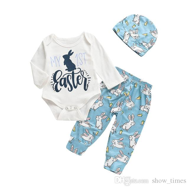 f711716298d7 Spring My 1st Easter Newborn Infant Baby Boy Girl Bunny Long Sleeve Romper  Leggings Hat Cotton Outfits 0-18M