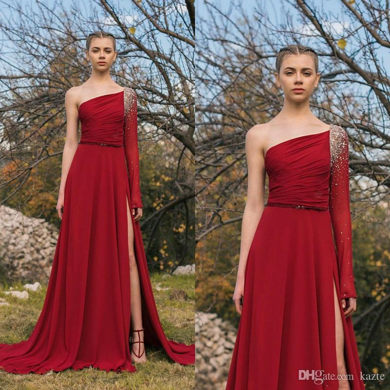 One Shoulder Prom Dresses Dark Red New 2019 High Side Slit Beaded Long Sleeve Cheap Chiffon Formal Evening Gowns Party Dress