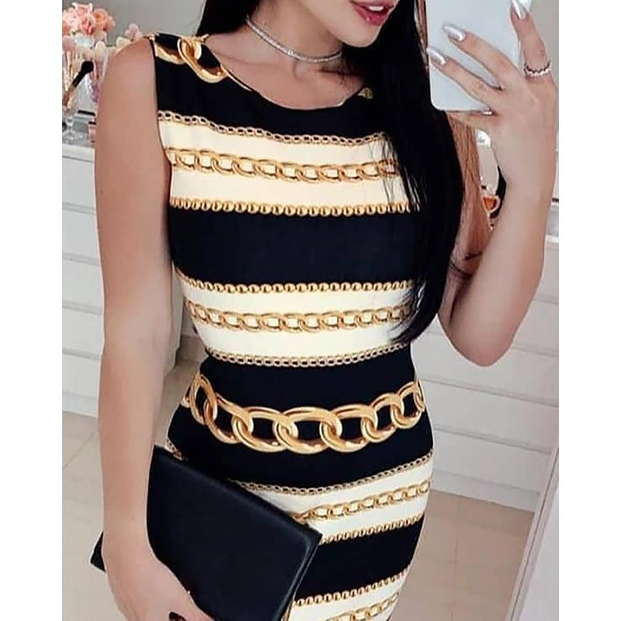 New Sexy Print Chain Striped Tight Dress Fashion Round Neck Sleeveless Mini Dress MX190724