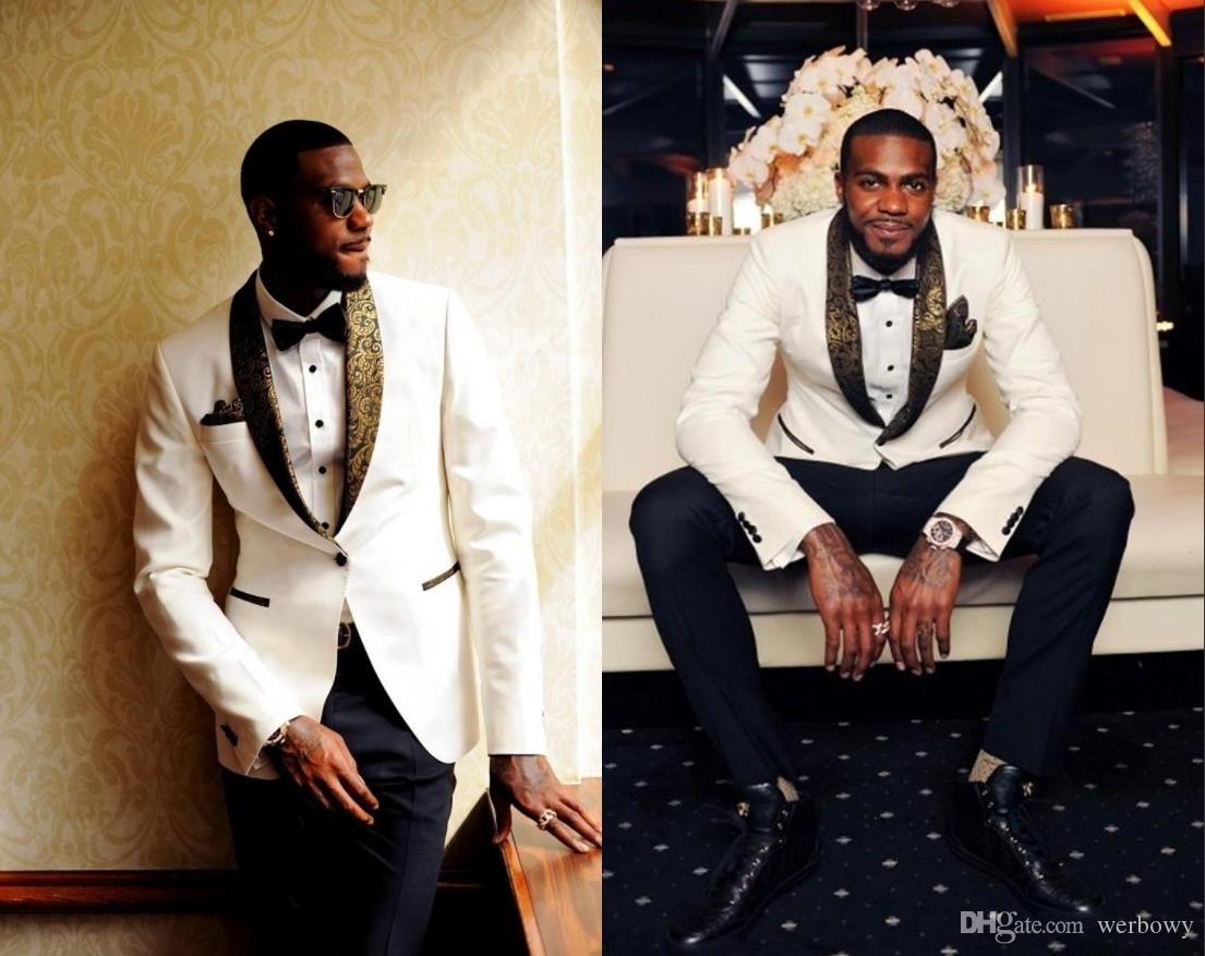 Handsome Two Pieces White Wedding Tuxedos Slim Fit Gold