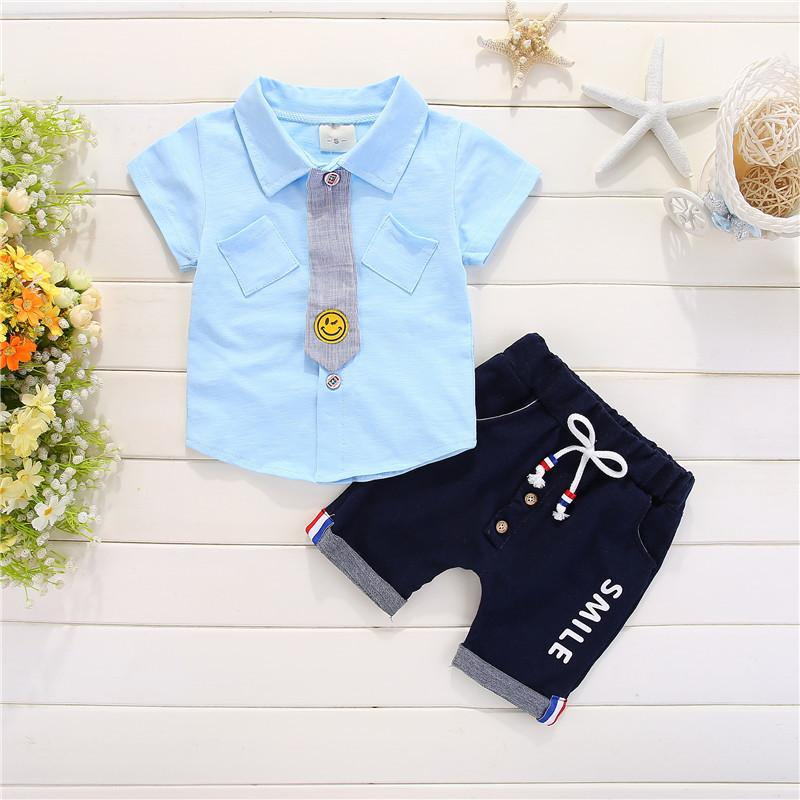 0d355bce6 good quality baby boys clothes set 2019 New arrival Boys summer clothing  sets children small tie T-shirt + pants 2pcs kids suits