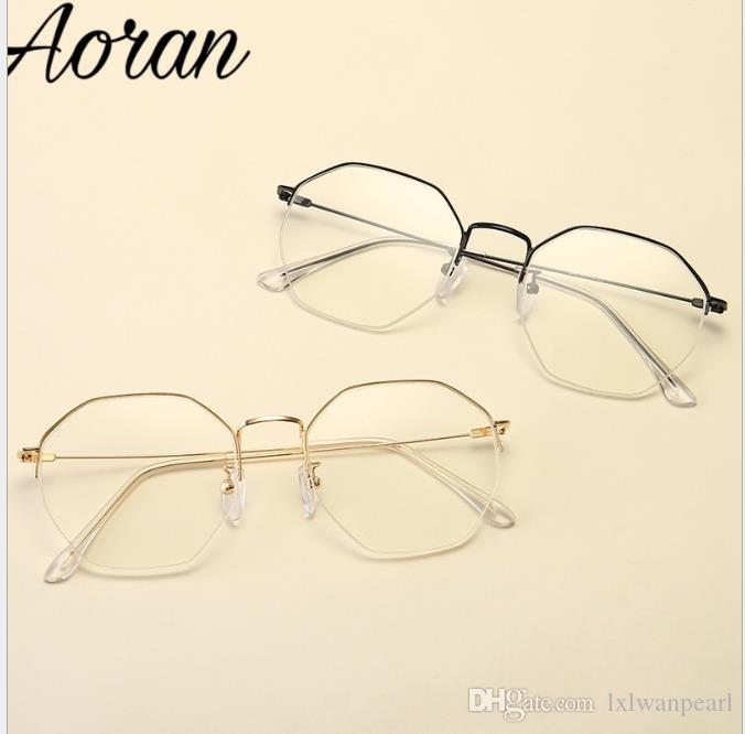 Retro half-frame eyeglasses with irregular large frame for women and short-sighted eyeglasses for men