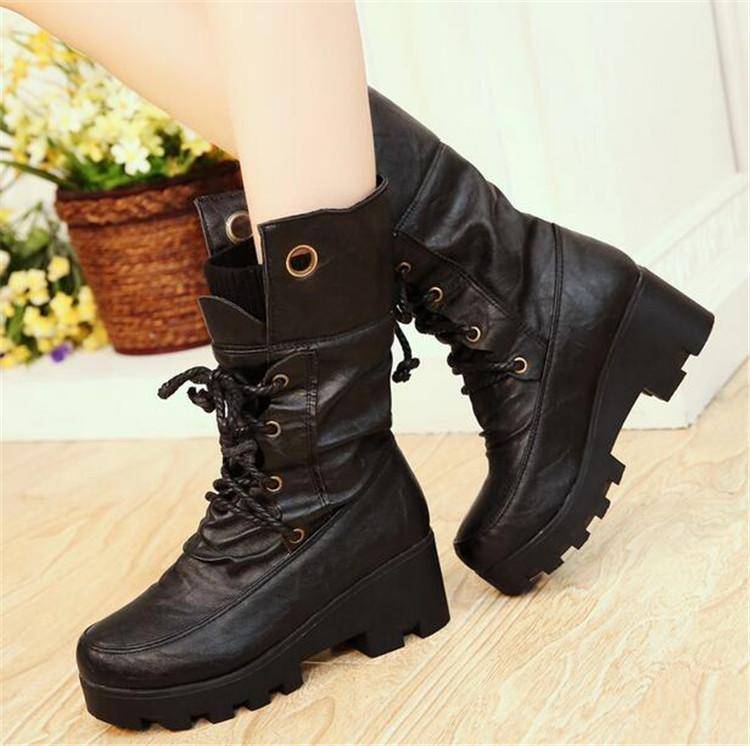 9363ac21593 PXELENA Plus Size 34-43 Women Boots Thick Sole Fur Mid Calf Boots Chunky  Block High Heel Lace Up Riding Knight Boot Shoes Winter