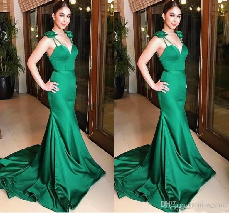 94f8474c1b6b1 2019 Design Formal Green Evening Dresses Backless Ribbon Court Train Mermaid  Cheap Prom Dress Special Occasion Party Gowns Customized Navy Blue Evening  ...