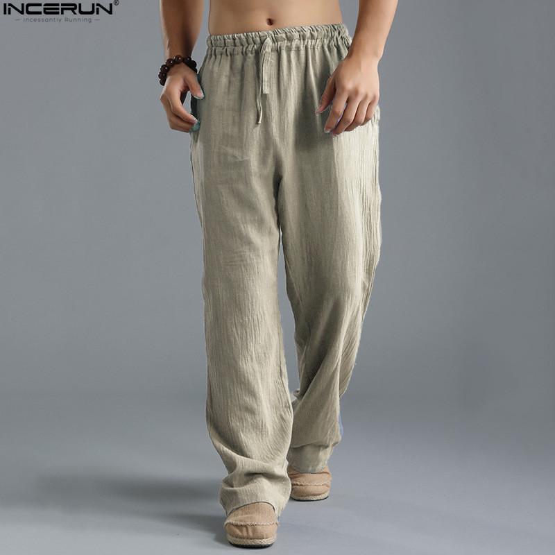 Compre Incerun S 5xl Hombres Pantalones Casuales De Verano Pantalones De  Chándal Pantalones Sueltos Rectos Holgados Cintura Elástica Tallas Grandes  ... 51b77ca7cad0