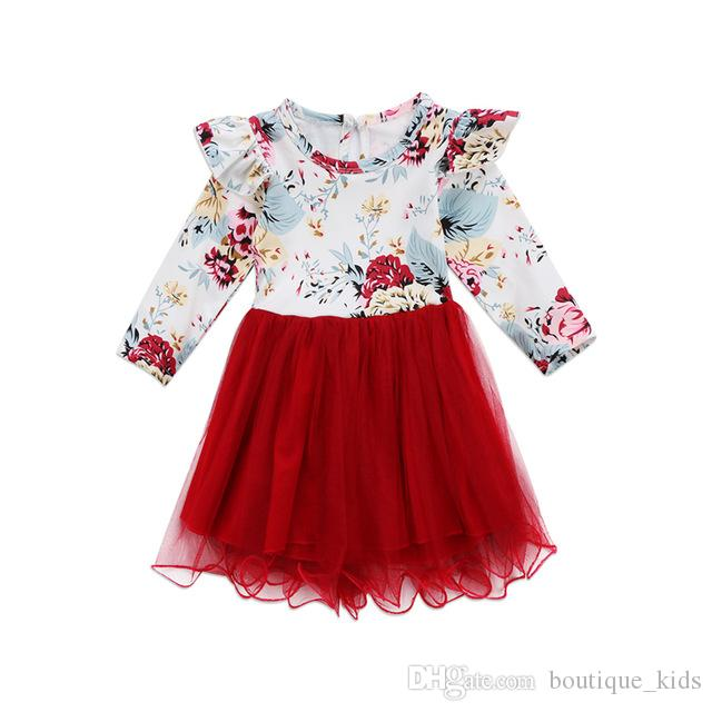 6dc81fe59 Baby Girl Dresses Spring Autumn Kids Clothing Toddler Girls Long Sleeve  Floral Tulle Dress Kids Patchwork Dress For Girls Boutique Clothing