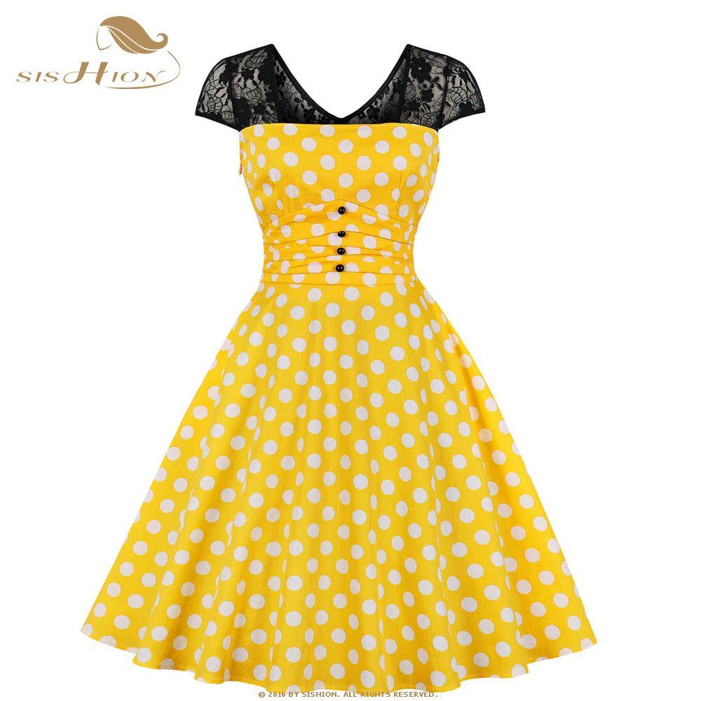 f33fe7059d1 SISHION Vintage Retro Polka Dot Dress VD1082 Short Sleeve Slim Lace Summer  Bow Women Yellow Dress