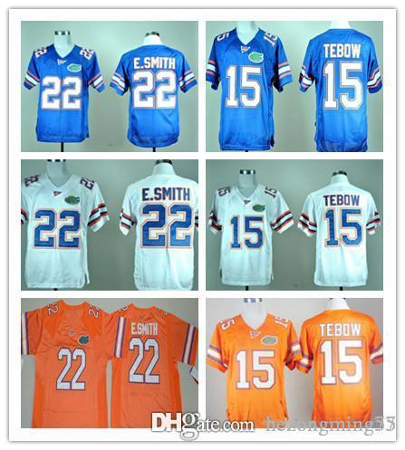 competitive price 3f89a ce3bf Men's Florida Gators College Jerseys 15 Tim Tebow Jersey 22 E.Smith Team  Color Blue White Orange Stitched