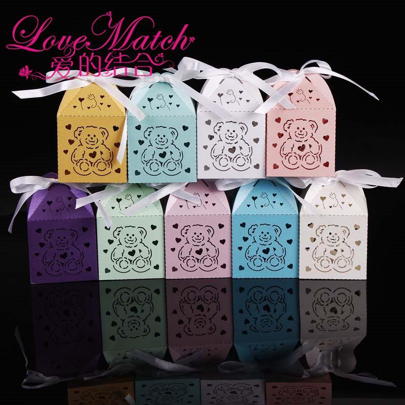 découpés au laser boîtes à ours mignons faveurs de douche de bébé, enfants boîte de cadeau de fête d'anniversaire boîte de chocolat et décoration de fête pour bébé cadeau