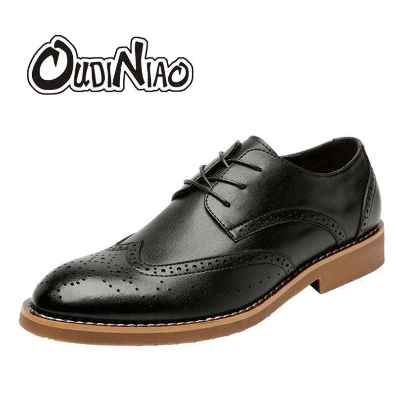 Männer Up Brogues Lace Schuhe Arbeit Für Leder Casual Split Oudiniao Vintage Schwarz Dressed Wildleder Formal lcF1KJ