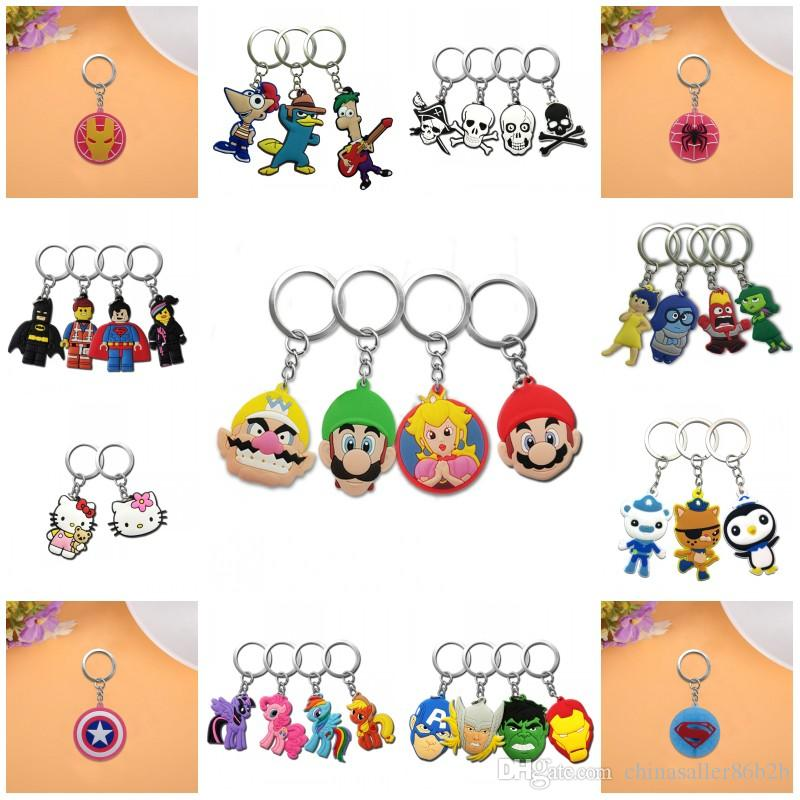 MOQ=500PCS Metal Key Chains Cute Cartoon Soft Key Ring PVC Anime Figure Keychain Car Key Holder Super Mario Avengers Trolls etc -Free DHL