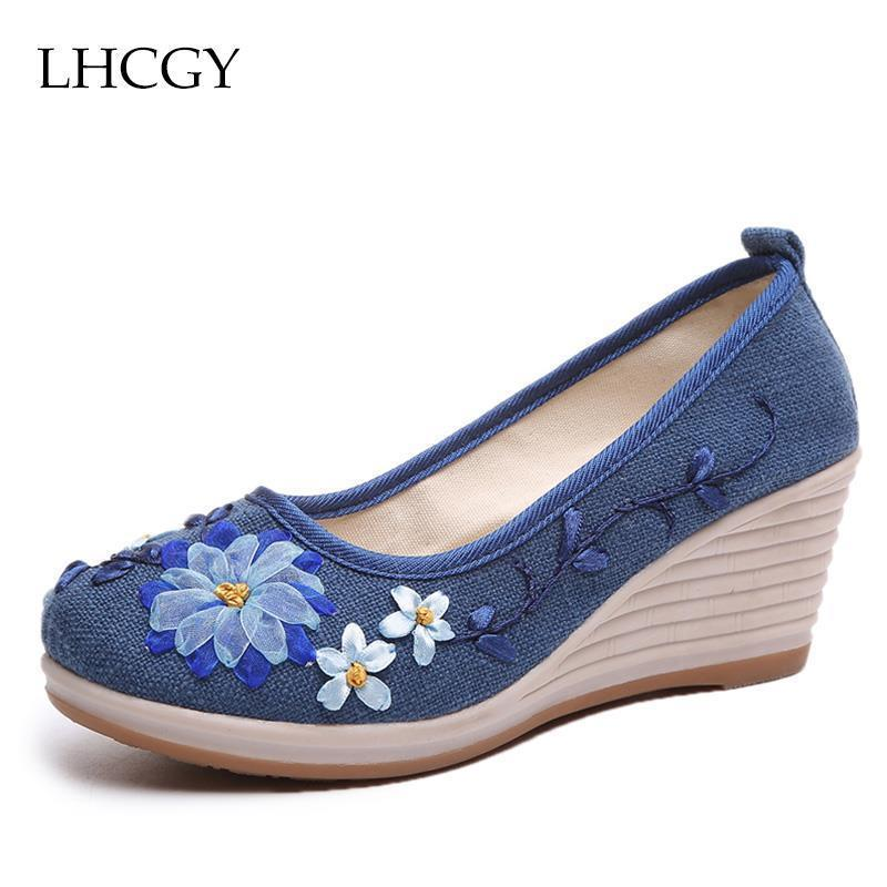 Dress Spring Autumn Woman Shoes Ethnic Wedges Pumps Embroider High Heels Shoes Women Boat Shoes Canvas Pump Zapatos Mujer 61h60