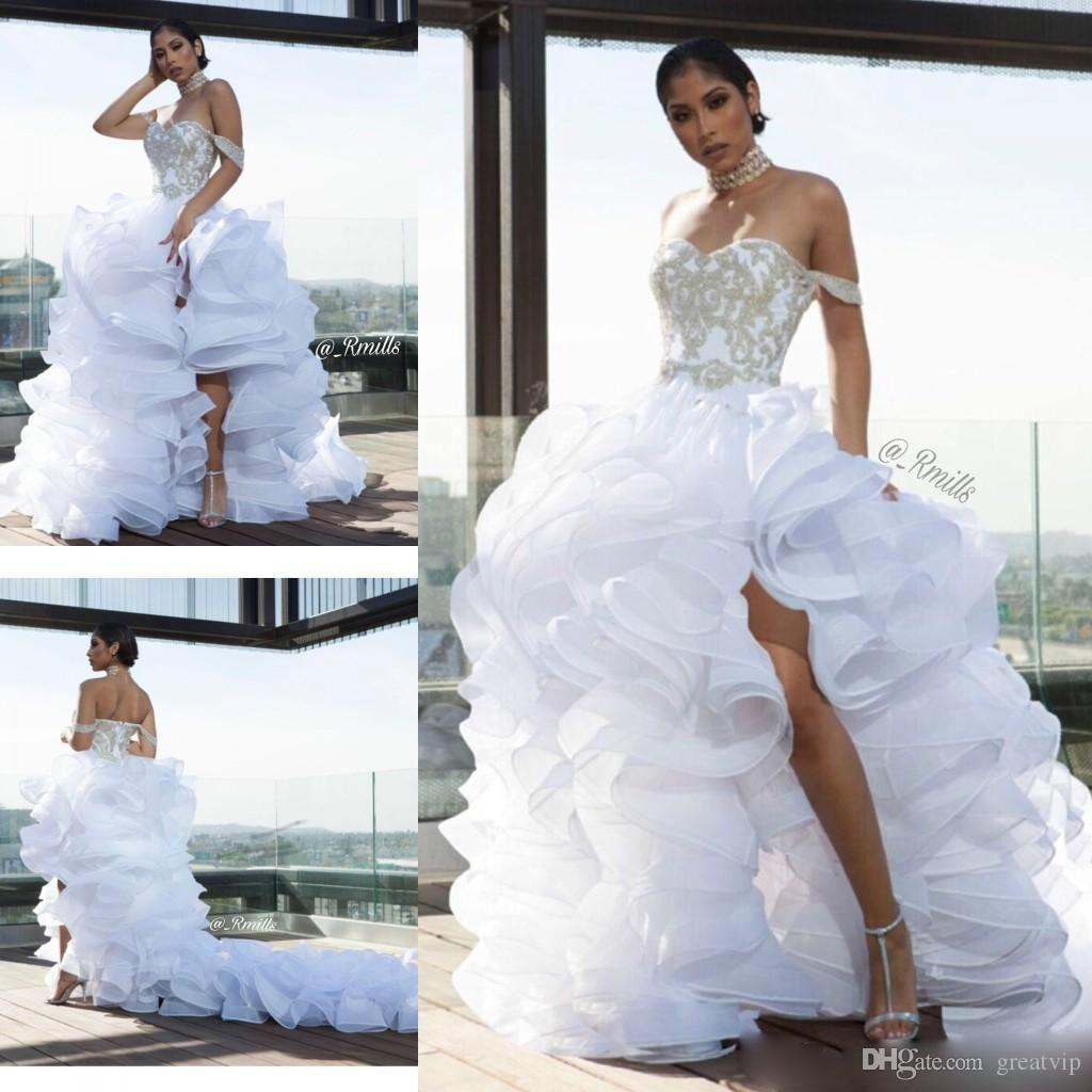 03e682020801 Discount 2019 A Line Wedding Dresses Off Shoulder Lace Applique Ruffles  Organza Split Bridal Gowns Plus Size Beach Boho Wedding Dress Robe De  Mariée Wedding ...
