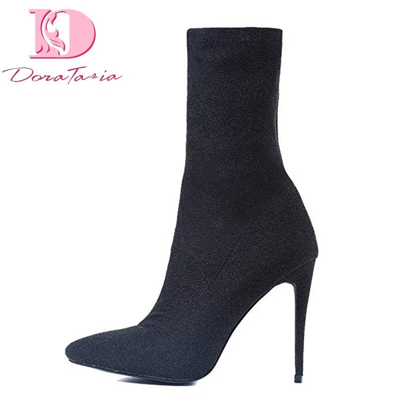 eeb59e5ffd9 Doratasia New Plus Size 43 Hot Sale Elastic Party Boots Shoes Woman ...
