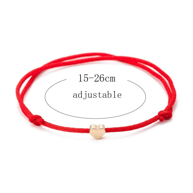Red String Thread Gold Color Heart Charm Bracelet For Women Handmade Adjustable String Lucky Bracelet Rope Friendship Jewelry