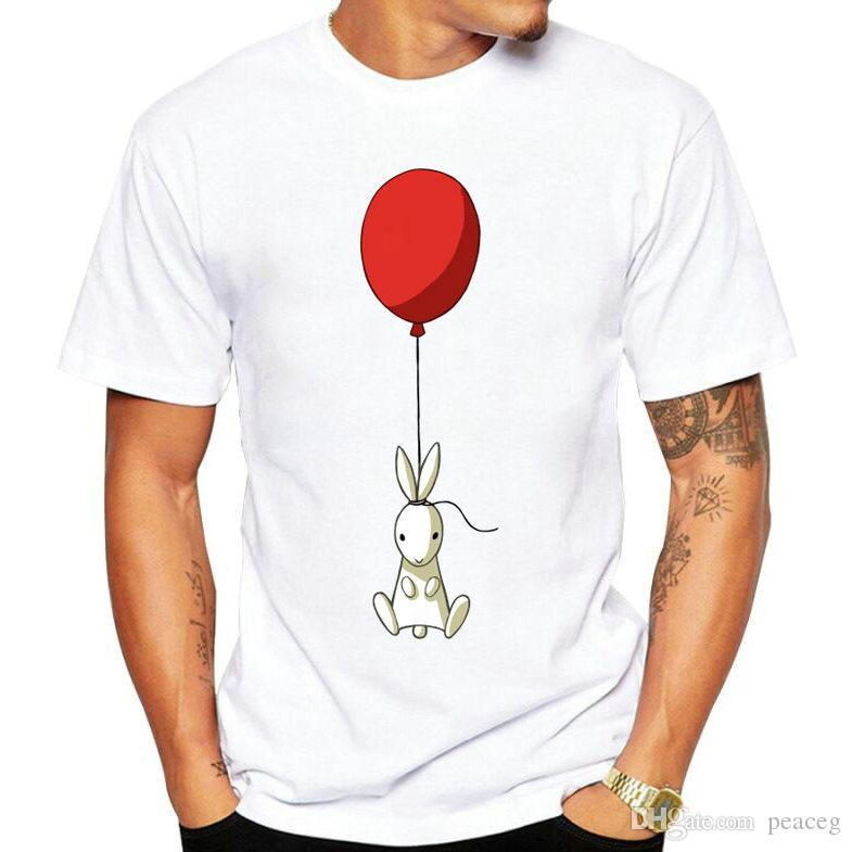 Rabbit t shirt Balloon picture short sleeve Nice lovely photo fadeless tees Leisure white colorfast clothing Pure color modal Tshirt