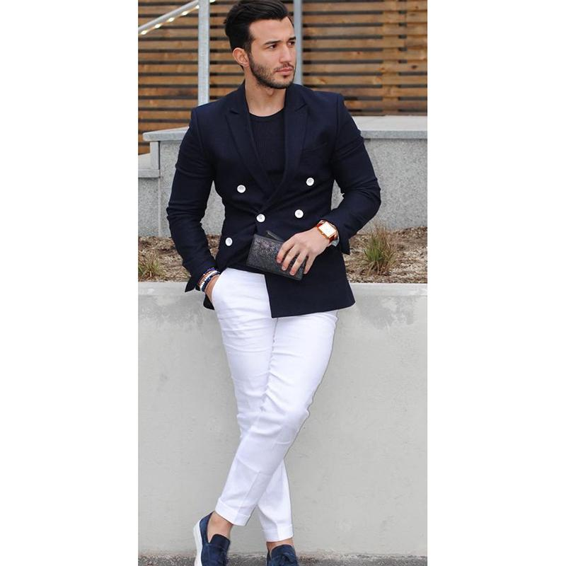 Navy Blue Double Breasted Casual Blazer Costume Homme Tuxedo Custom Jacket Style Men Suit 2pcs(jacket+white Pants) C19041601