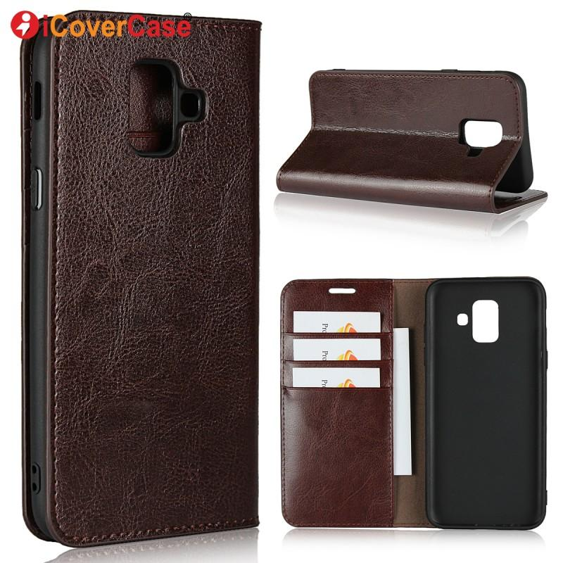 quality design 7ea6c 69ed2 Genuine Leather Wallet for Samsung Galaxy A6 2018 Case Coque Fundas Flip  Cover for Samsung Galaxy A6+ A6 Plus 2018 Phone Cases