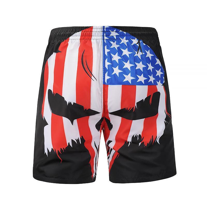 fa662ecd42 Creative 3D Flag Print Beach Pants Men's Quick Dry Swim Trunks Beach Board  Shorts Elastic Waist Shorts Surfing Board Jogging Run
