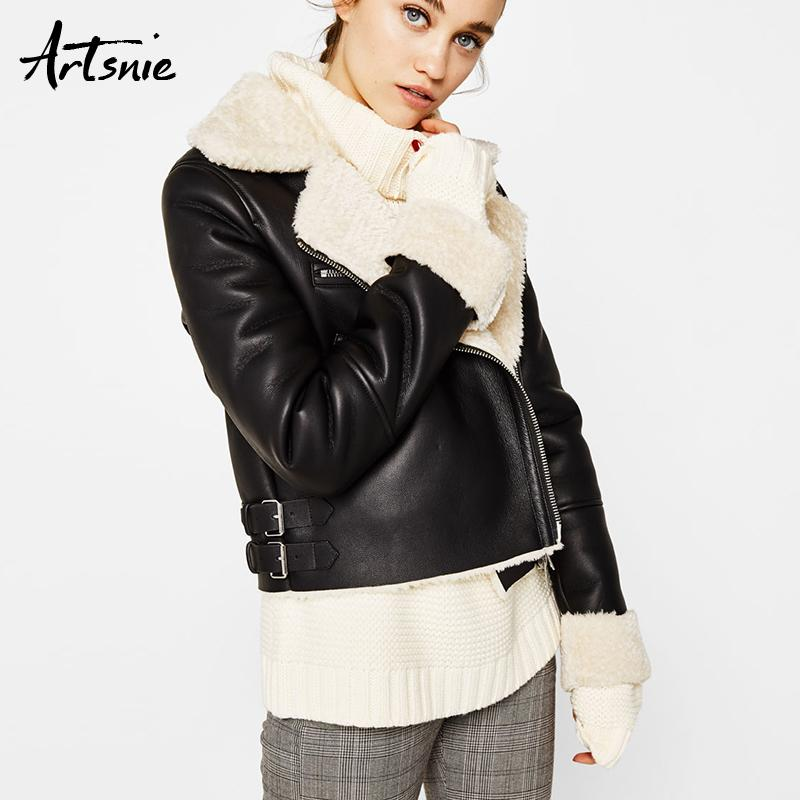 79136028d7 Artsnie Black Casual Giacche in pelle sintetica Donna Autunno 2018  Streetwear Biker Giacca moto ragazze Winter Wool Chaquetas Mujer