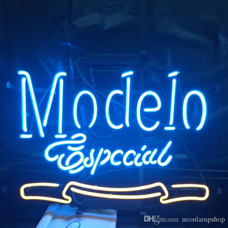 Modelo special Neon Sign Lamp Design Beer Advertising Decoration Art Gift  Display Real Glass Neon Light Metal Frame 17'' 24'' 30''40''