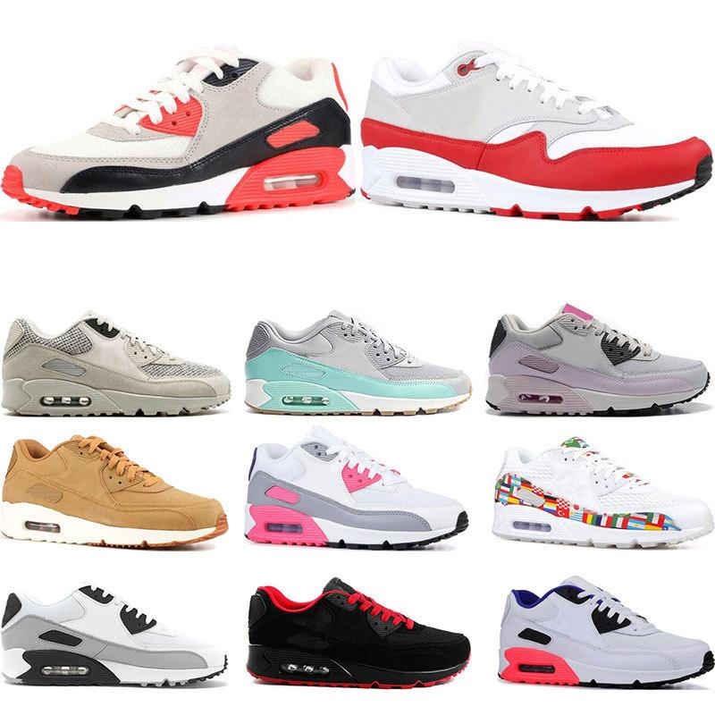 Arrivel Nuevo 2019 90 Zapatillas de running para hombre Mujer Laser Pink Triple White Black Infrared Essential Bred Sports Sneaker Trainers Talla 36-45