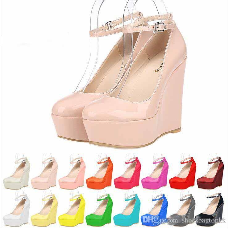 2019 Women Platform Wedges Ankle Strap High Heels Ladies Leather Party Wedding Shoes