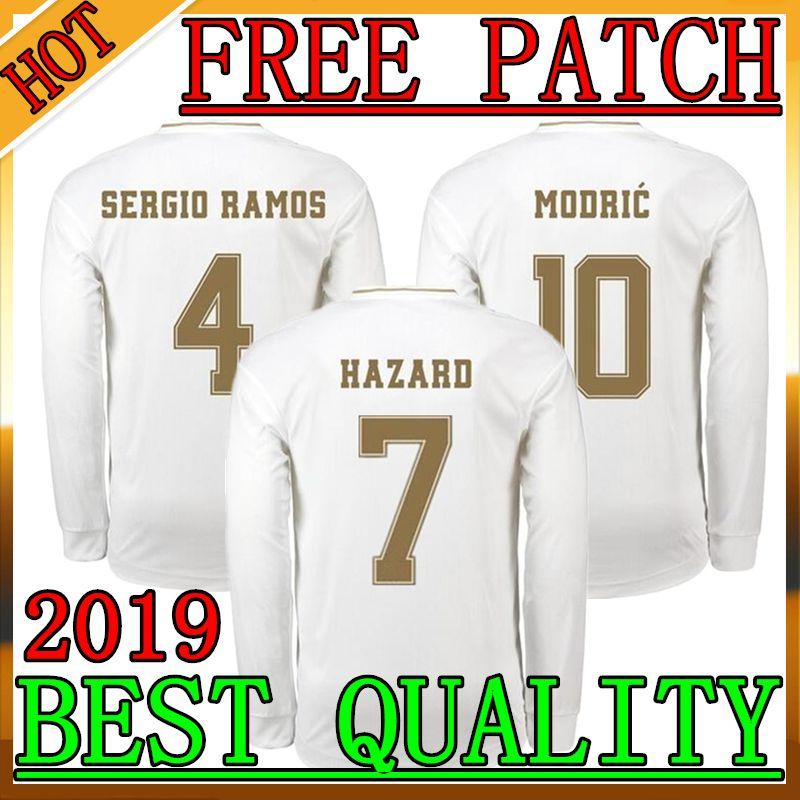 huge discount db04a 186ce 19 20 Real Madrid Long Sleeve Soccer Jerseys 19 20 Real Madrid SERGIO RAMOS  MARCELO MODRIC BRAHIM ASENSIO ISCO HAZARD Long Sleeve Jersey