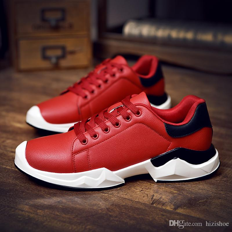 a3db71c48b52 High Quality Mens Trend Shoes Red White Black Steel Toe Low Top Comfort  Sole Fashion Shoes Casual Shoes Foe Men Mens Casual Shoes Mens Fashion Shoes  Mens ...