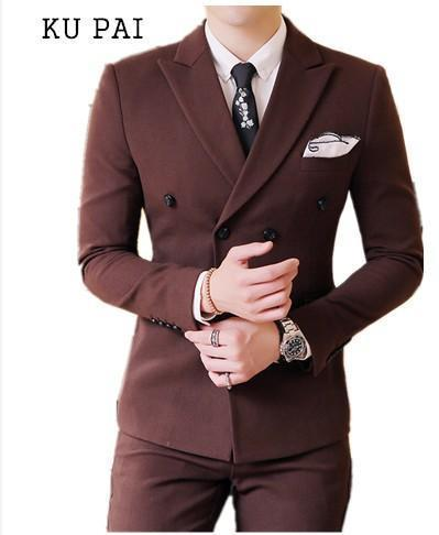Crazy2019 Pop Men's Casual Wear In Autumn Korean Trend Of Hair Stylist Small Suit Double-breasted Business Dress Jacket Men