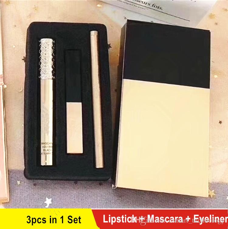 HOT 3pcs=1set Y5L Brand Makeup set Mascara + Eyeliner + Matte rouge a levre Lipstick Make Up Sets