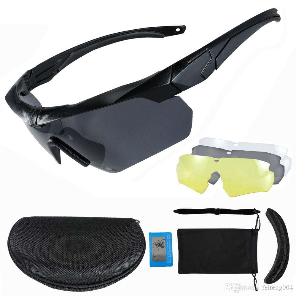 c5c203673b Polarized Cycling Glasses Men Tactical Sport Sunglasses 3 Lenses For ...
