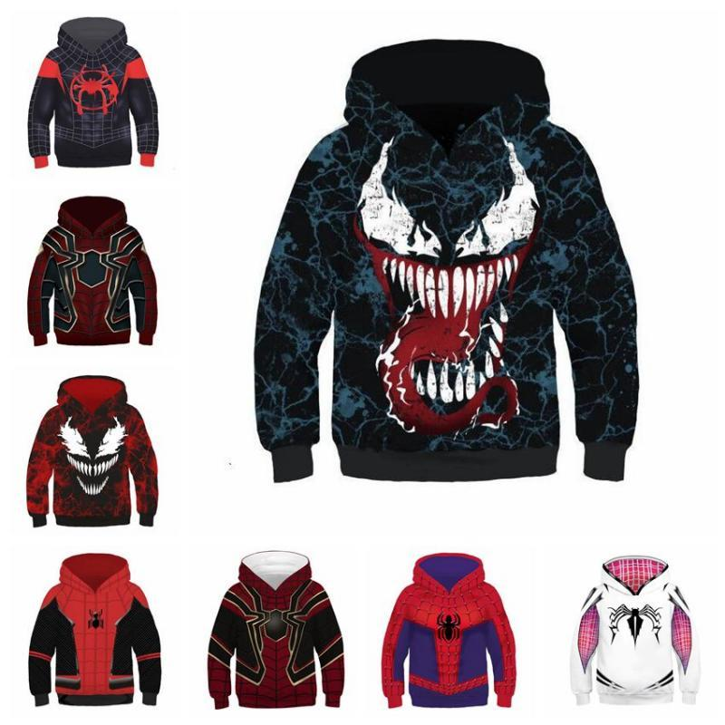 4106fceb 2019 10 Styles Spider Man Into The Spider Verse Hoodies Children Spiderman  Venom Long Sleeves 3D Hoodies Home Clothing CCA11067 From Kids_dress, ...