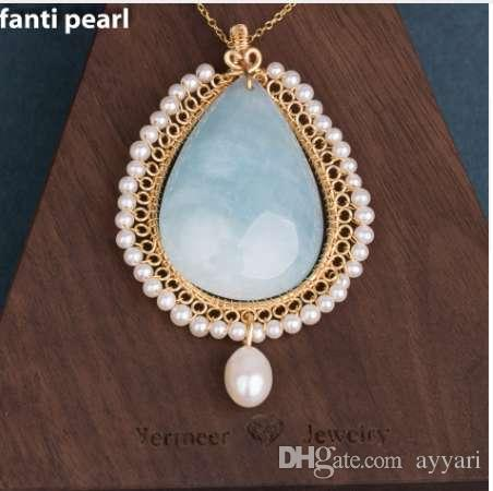 44d5e8d2f4dee Handmade golden line larimar necklace freshwater Pearl necklace for woman