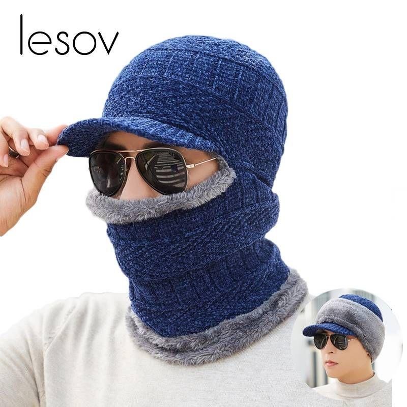 43ad48f2aaf 2019 Lesov Men Casual Winter Hats Warm Plush Knitted Beanie Hat Scarf Set  Visor Sun Cap Slouchy Sport Hat Leisure Boonet Gorro New From Boyanghu