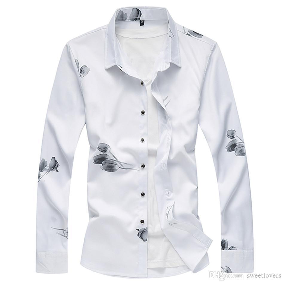 8f84bddb0ff 2019 New Fashion Men S Flower Shirt 2018 Autumn Floral Printing Long Sleeve  Shirts Mens Business Mens Casual Shirts Men Clothes M 7XL M3 083 From ...