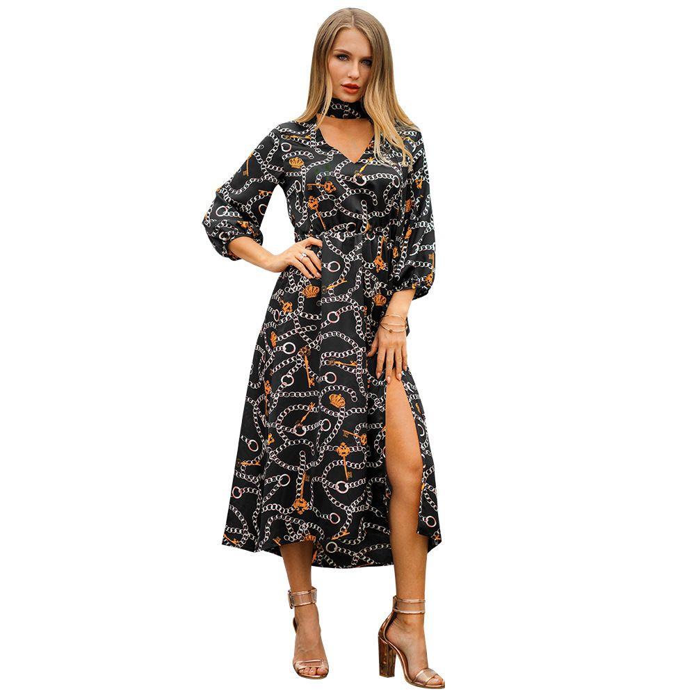 608dc75d97e6b Original Designer Suit Dress 2019 Spring And Summer New Pattern V Lead Vent  Black Mini Club Dress Woman Dresses Models Plus Women Clothes Summer Dresses  ...