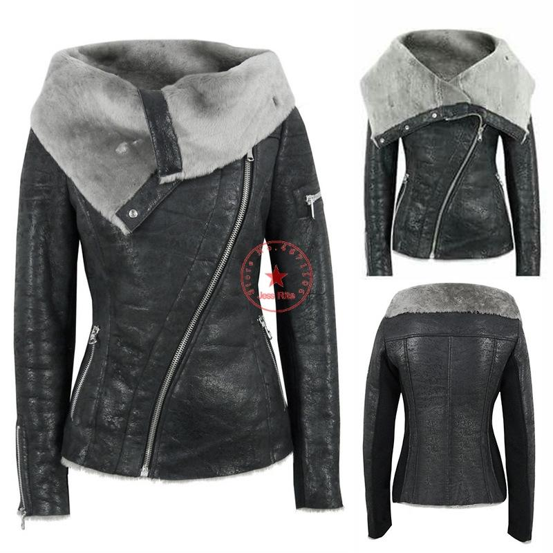 European and American trend women's PU leather jacket jacket plus velvet hair asymmetric zipper short warm motorcycle